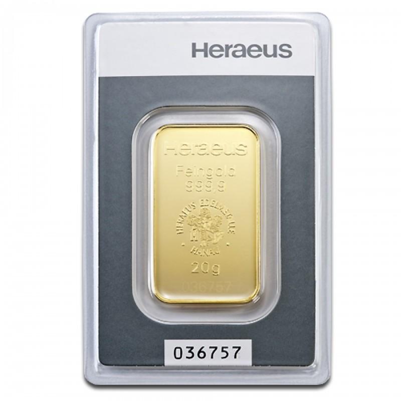 20 Grams Heraeus Gold Bar