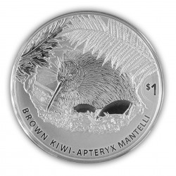 1 Oz Brown Kiwi 2021 Silver...
