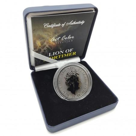 2 Oz White Lion of Mortimer 2020  – Art Color Silver Coin