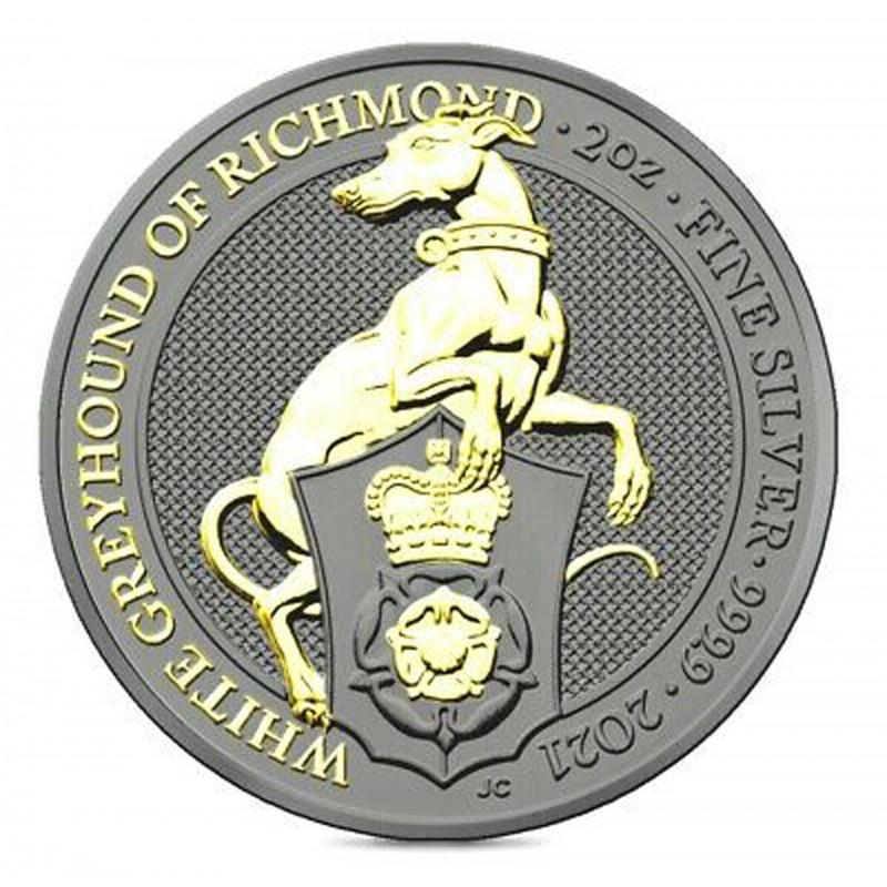 2 Oz White Greyhound of Richmond 2021 – Art Color Silver Coin