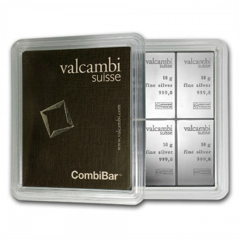 100 Gram Valcambi Silver Combi Bar