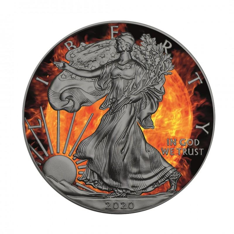 1 Oz Fire American 2020 Silver Coin