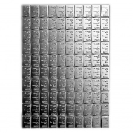 100 x 1 Gram Valcambi Silver Combi Bar