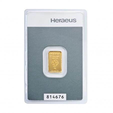 2 Grams Heraeus Gold Bar